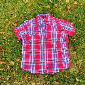 Erika Plaid Red Blue Button Up Short sleeve shirt